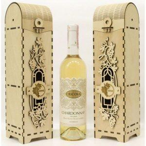 Eleganckie ozdobne pudełko na wino, whisky lub inny alkohol. (model A005)