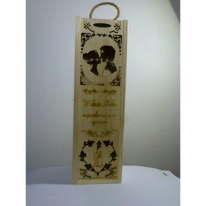 Eleganckie ozdobne pudełko na wino, whisky lub inny alkohol. (model A202)